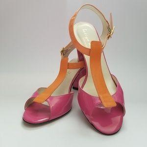 bettye muller patent leather strap sandal